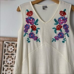 Springy Floral Appliqué Dress